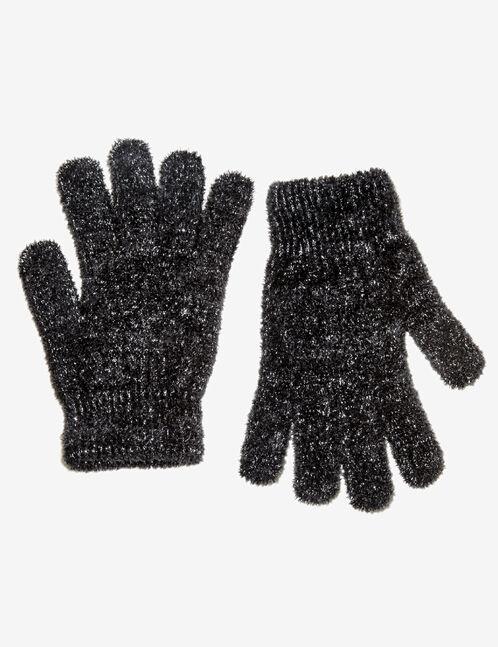 gants matière peluche noirs