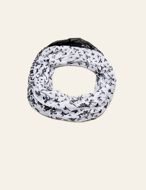 White and black floral snood