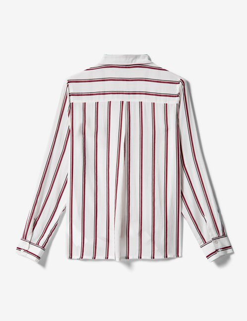 White, burgundy and black shirt with stripe detail