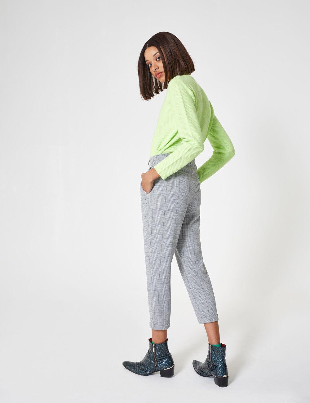pantalon prince de galles gris et blanc femme jennyfer. Black Bedroom Furniture Sets. Home Design Ideas