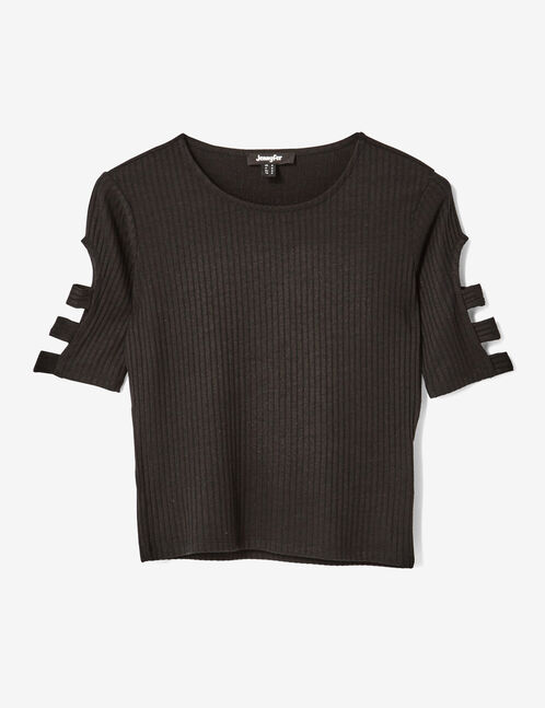tee-shirt ouvertures manches noir