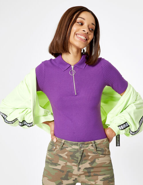 Purple zipped polo-style T-shirt