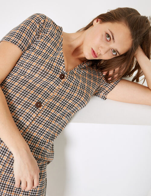 Brown and orange checked buttoned dress