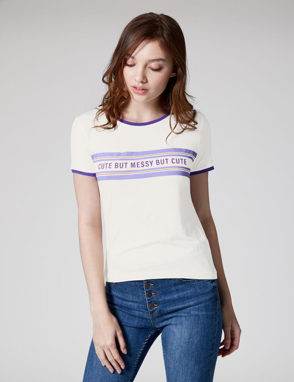 tee shirt blanc message femme jennyfer. Black Bedroom Furniture Sets. Home Design Ideas
