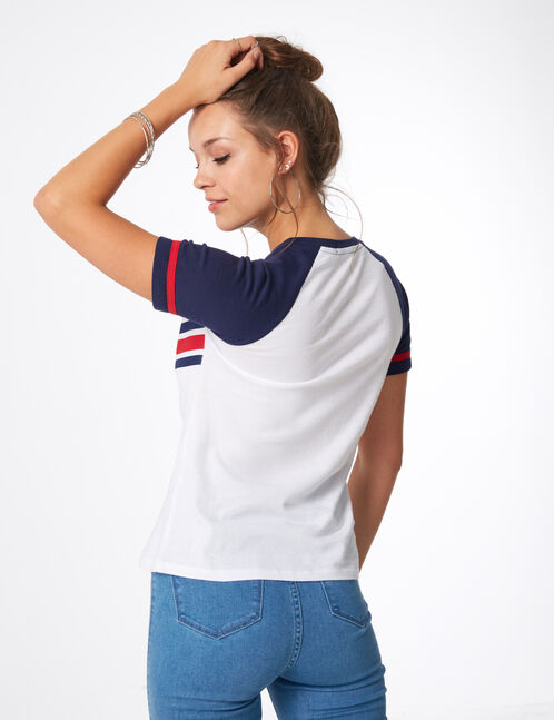 tee-shirt los angeles blanc et bleu marine