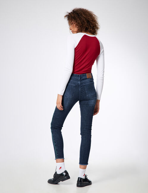 Dark blue and green jeans with side stripe detail
