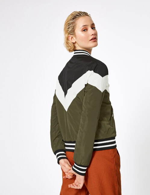 Khaki, black and white bomber jacket with chevron detail