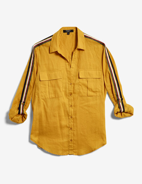 Ochre shirt with stripe detail