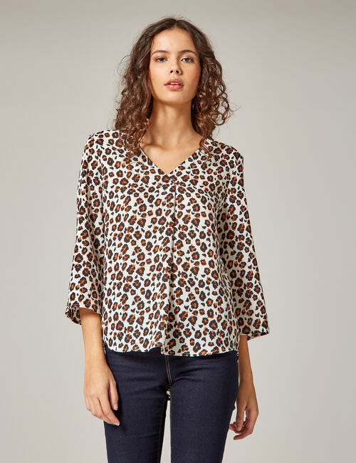Cream, black and brown leopard print blouse