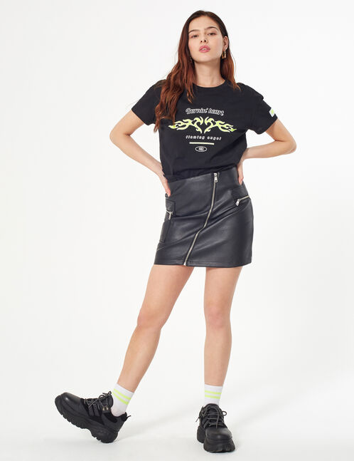 faux-leather skirt with zips