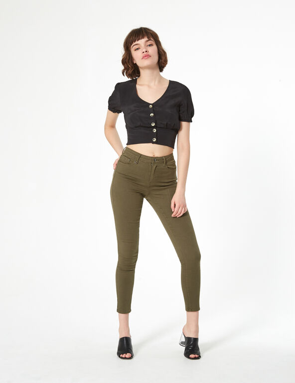 Cropped v-neck blouse