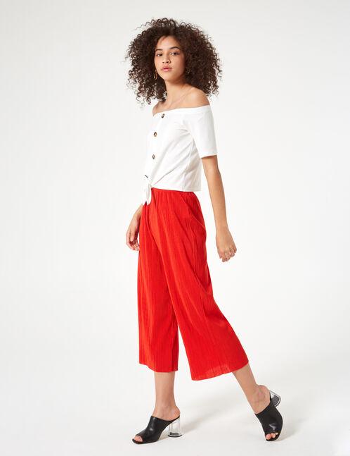 jupe culotte plissée rouge