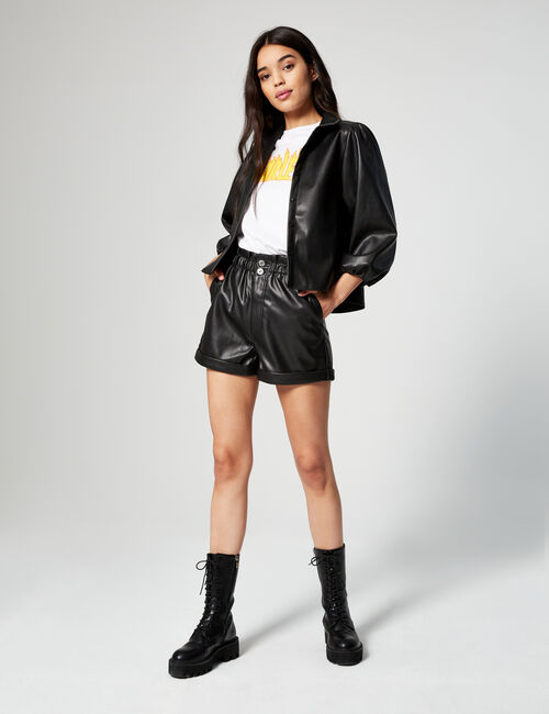 High-waisted shorts in imitation leather