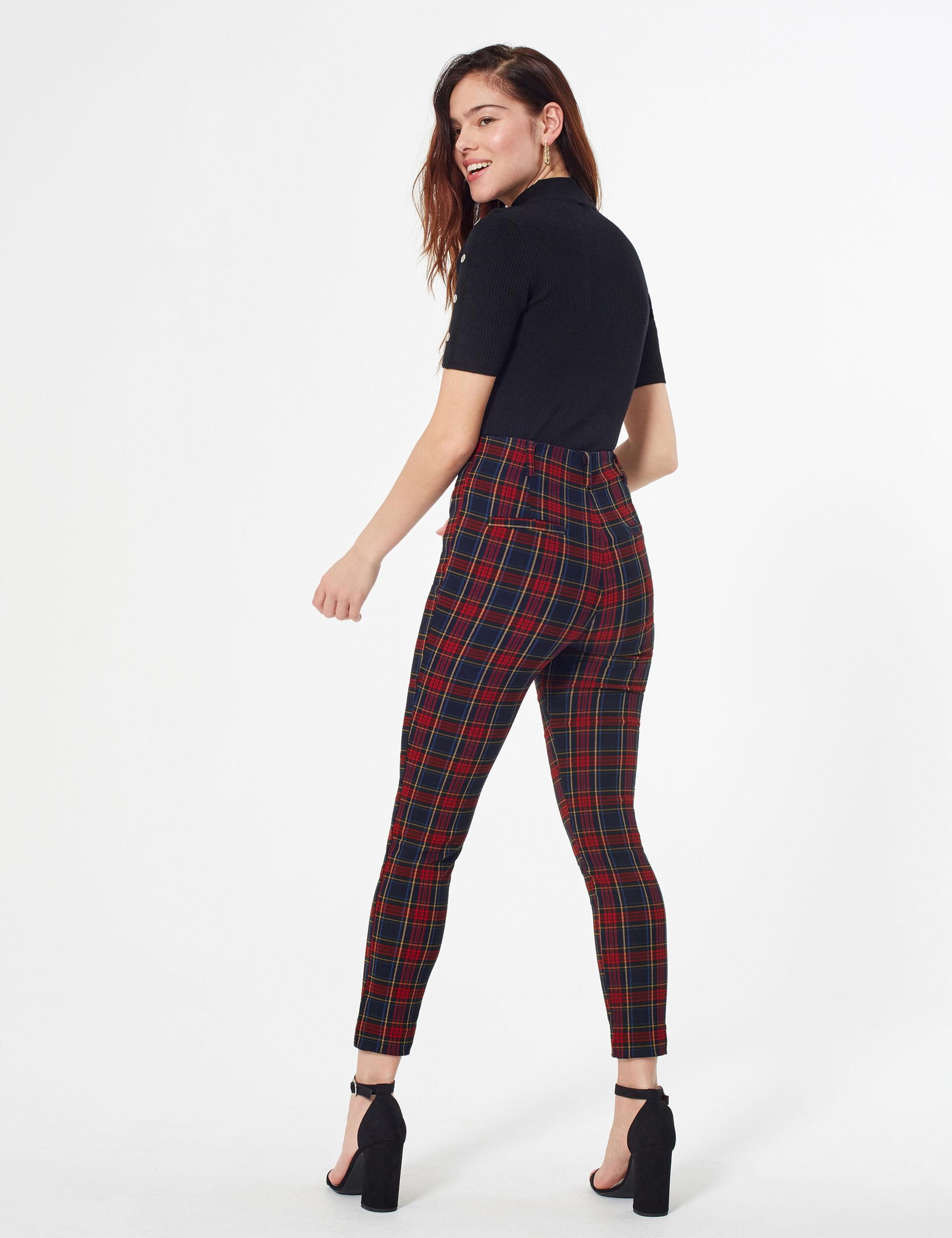 Pantalon stretch à carreaux avec boucle