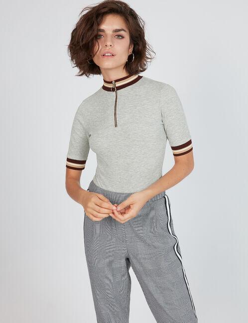 Grey bodysuit with zip detail