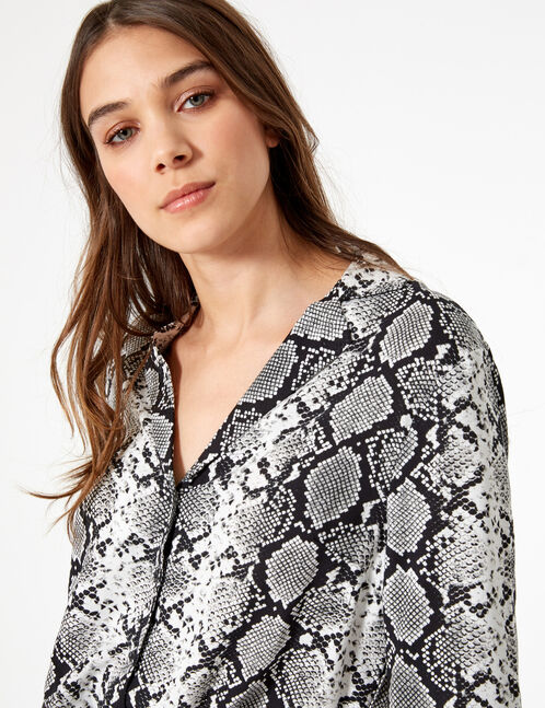 Black and white python print tie-fastening shirt