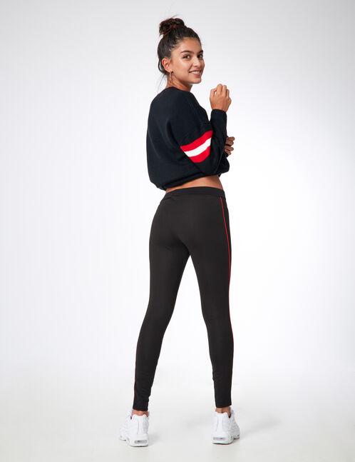 legging avec fines bandes noir et rouge