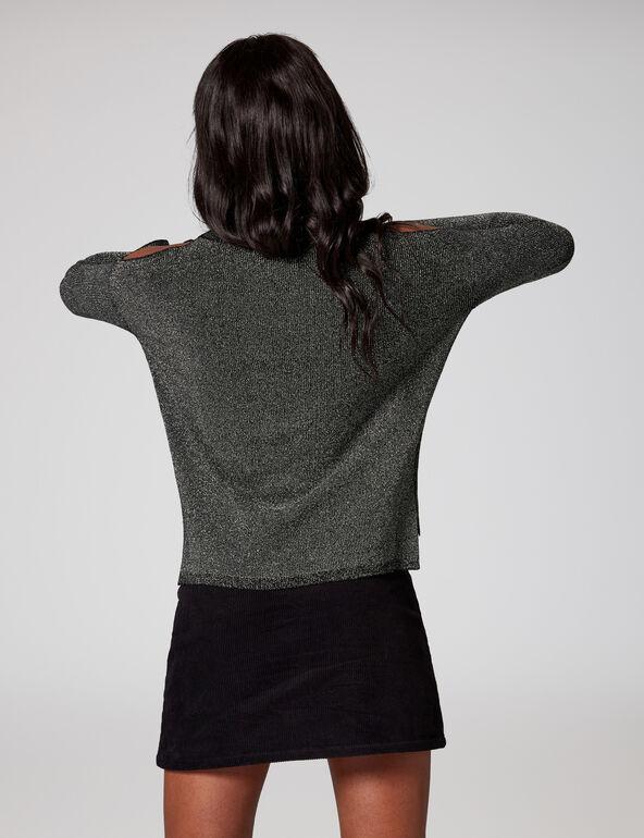 Grey and silver cold-shoulder jumper