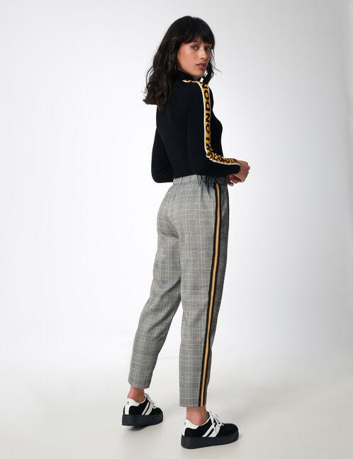 pantalon ville avec bandes gris et blanc femme jennyfer. Black Bedroom Furniture Sets. Home Design Ideas