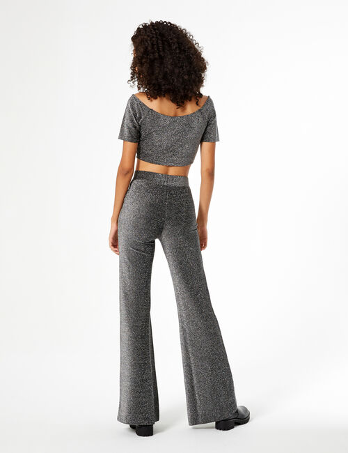Flared silver trousers