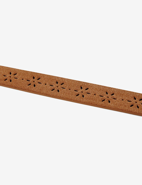 Camel perforated faux suede belt