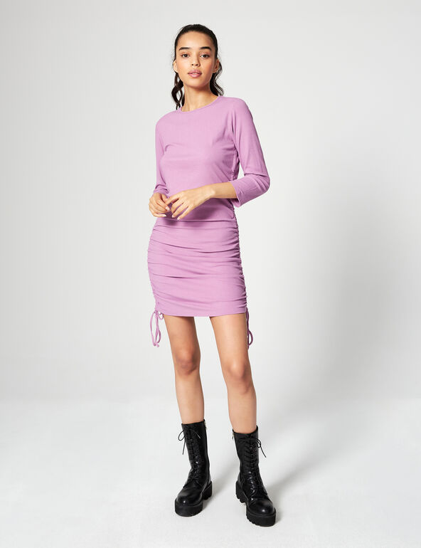 Ribbed dress with ruching