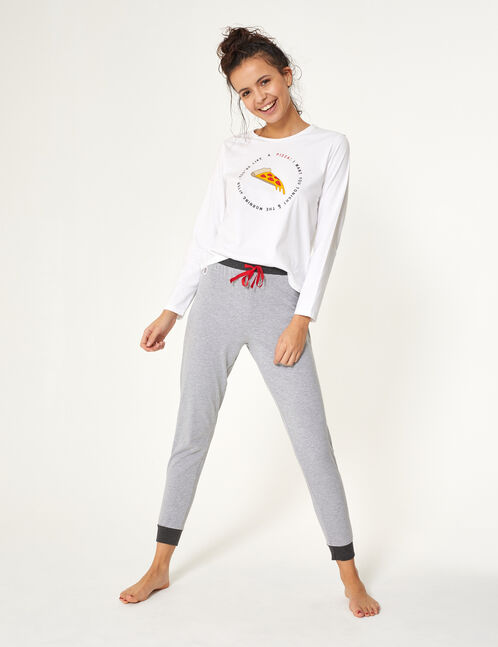 set pyjama pizza blanc et gris
