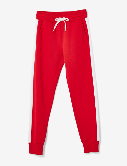 Red joggers with side stripe detail