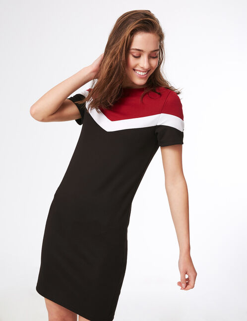 Black, white and burgundy tricolour dress