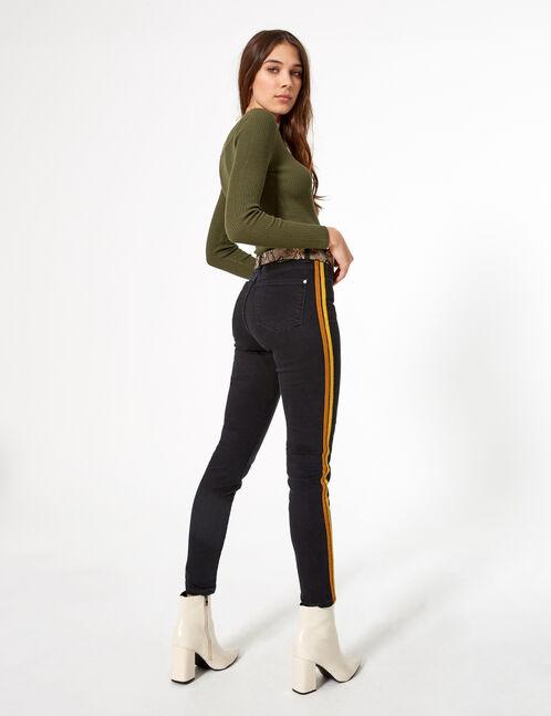 Jean super skinny à bandes noir ocre et marron