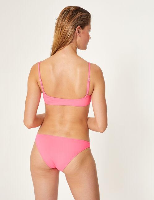 maillot de bain 2 pièces zippé rose fluo et blanc