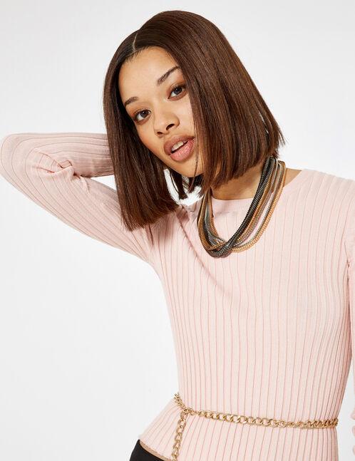 Light pink ribbed jumper