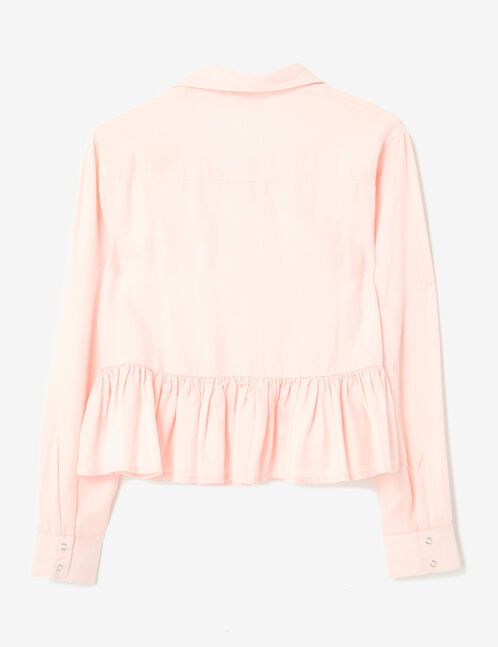 Cropped light pink shirt with frill detail