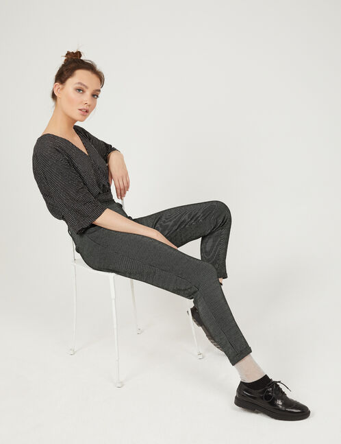 Black and cream striped tailored trousers