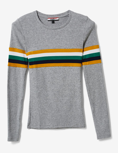 Grey marl T-shirt with stripe detail
