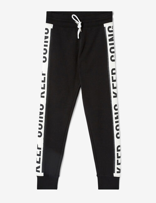 Black and white joggers with text design detail