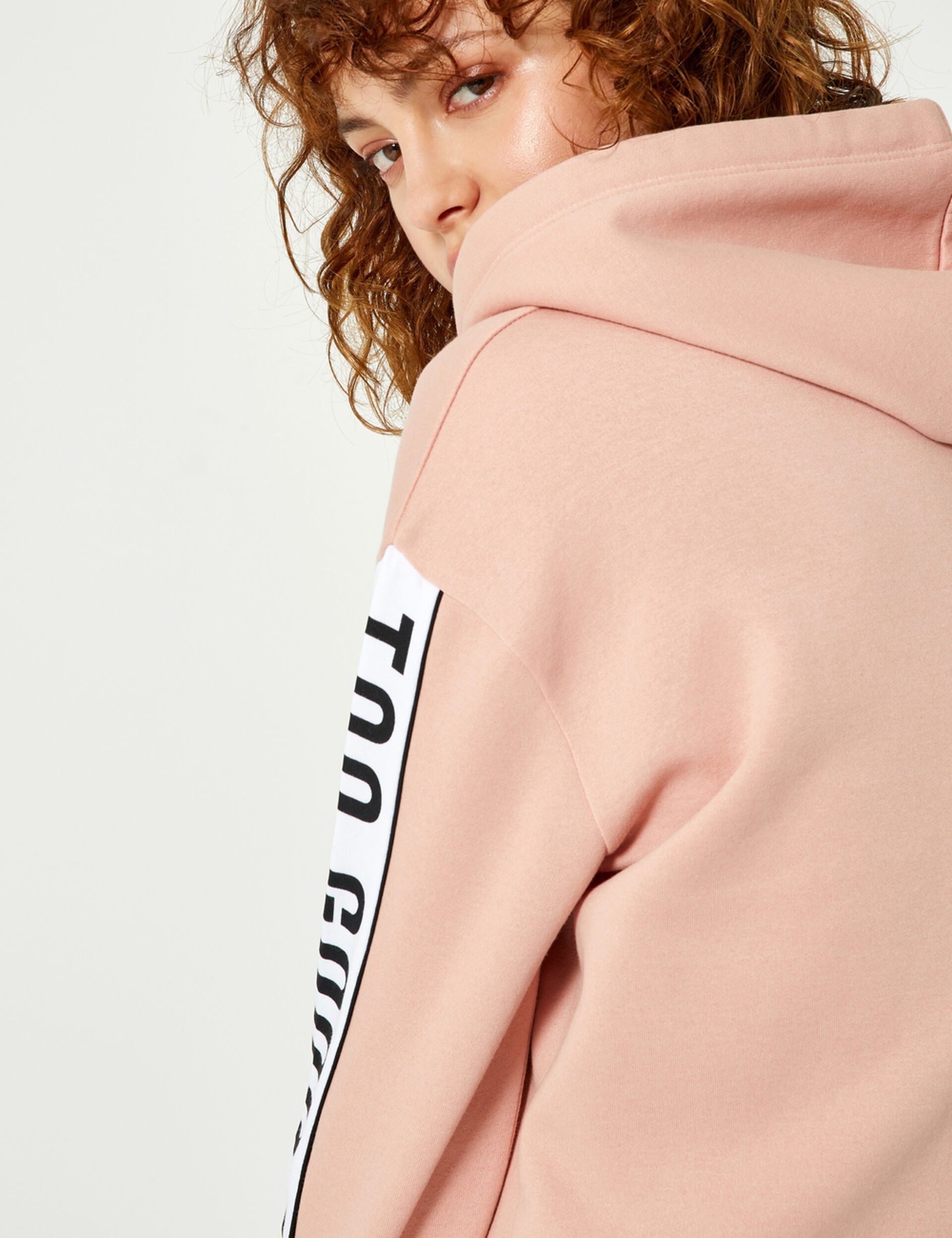 "Light pink and white ""back off"" hoodie"