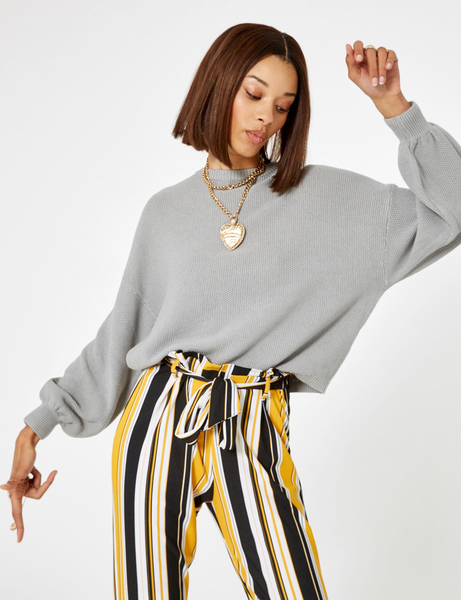 Grey marl textured loose-fit jumper