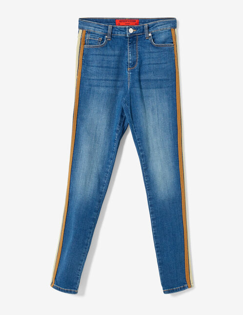 Blue, brown and beige jeans with side trim detail