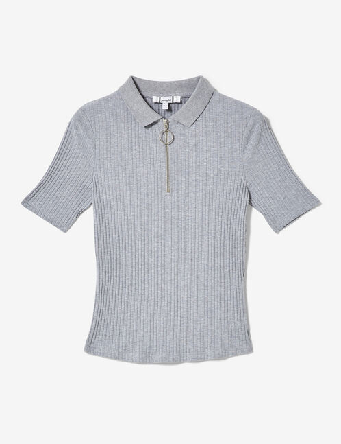 Grey marl zipped polo-style T-shirt