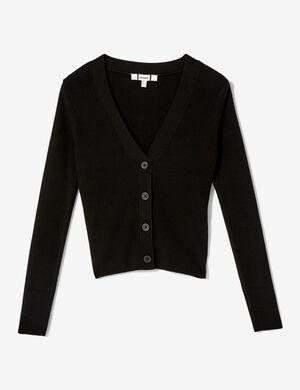 Product Gilet femme, noir, maille côtelée, fermeture boutonnée, col v, manches longues.  Photos retouchéesMarque Jennyfer Catégorie pulls + gilets