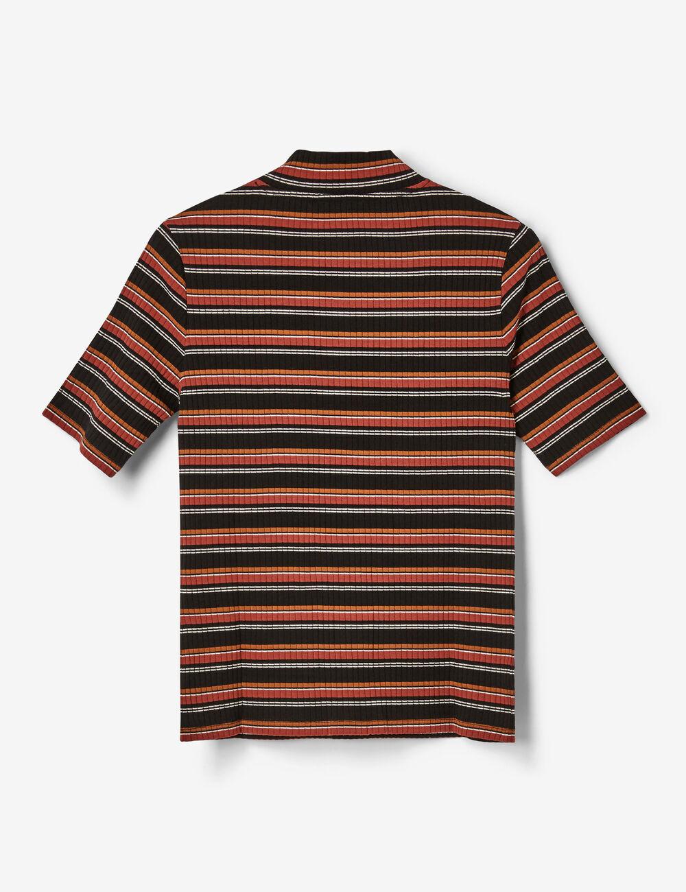 tee shirt ray zipp noir blanc rouille et camel femme. Black Bedroom Furniture Sets. Home Design Ideas