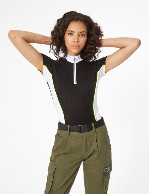 ribbed bodysuit with zip