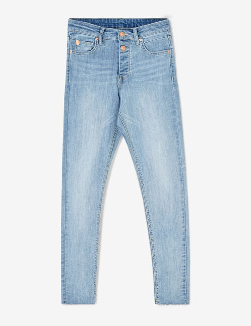 Light blue frayed jeans
