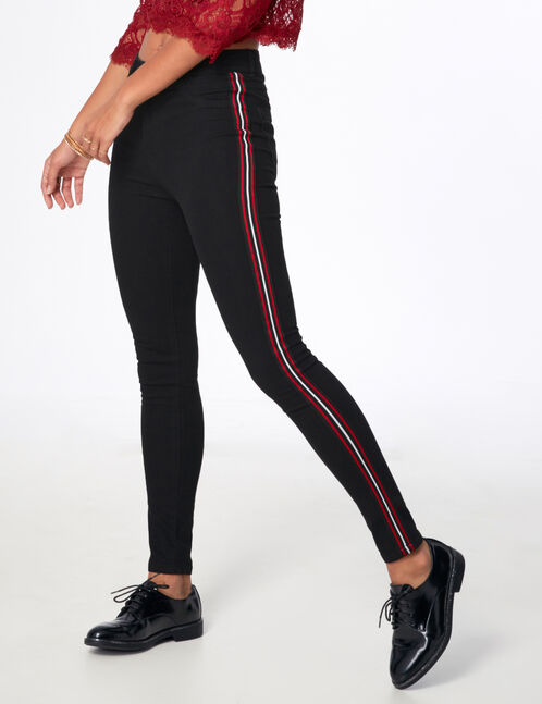 Black jeggings with stripe detail