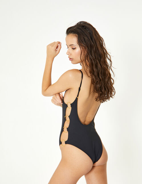 Black swimsuit with ring detail