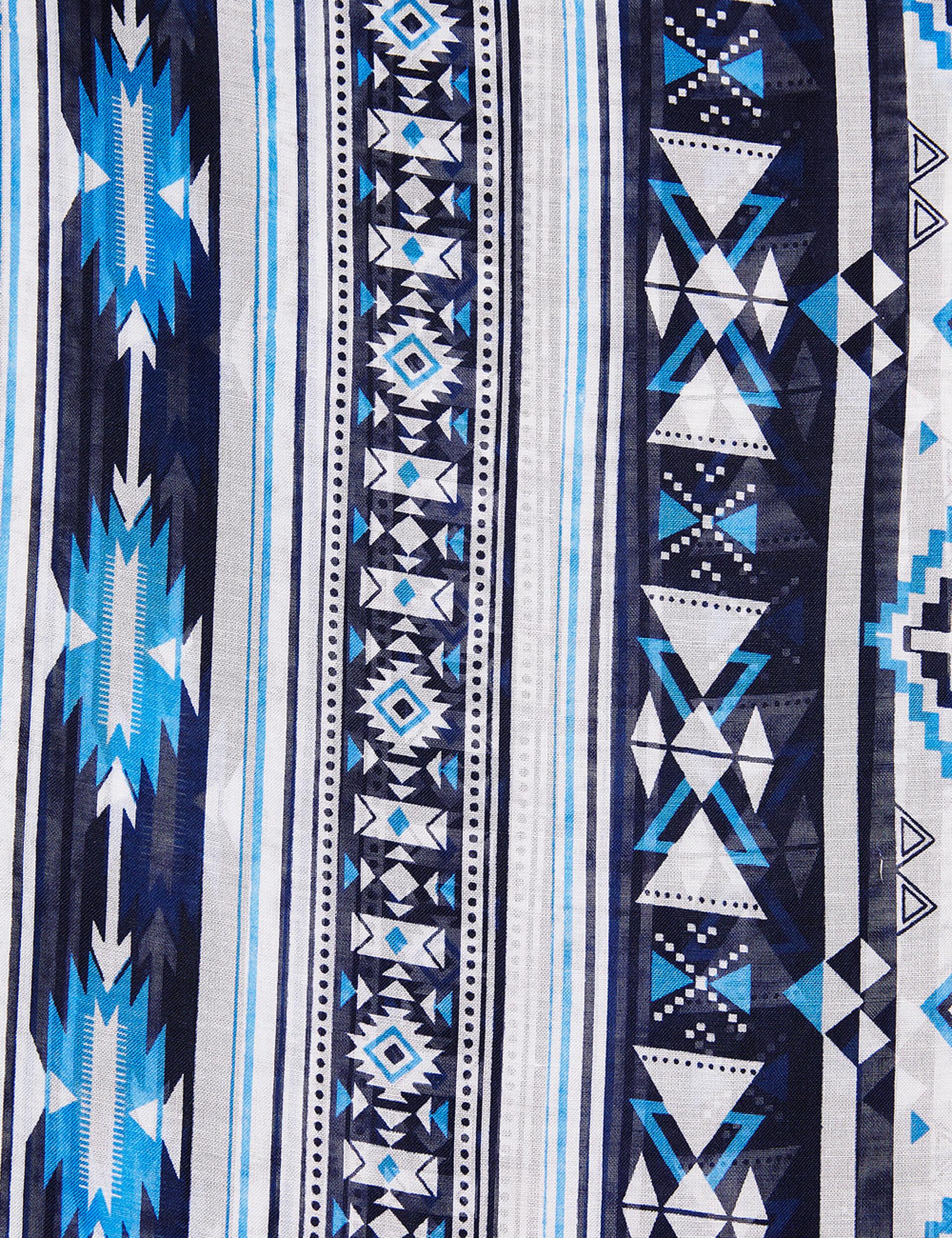 Tour de cou imprimé aztèque bleu et blanc
