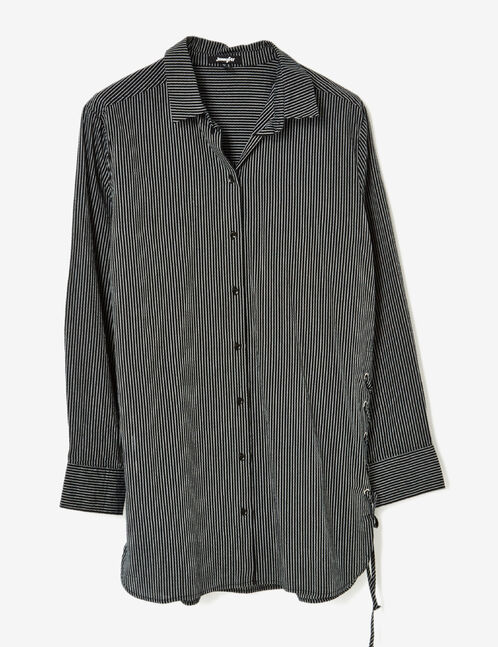 Long black and cream shirt with lacing detail
