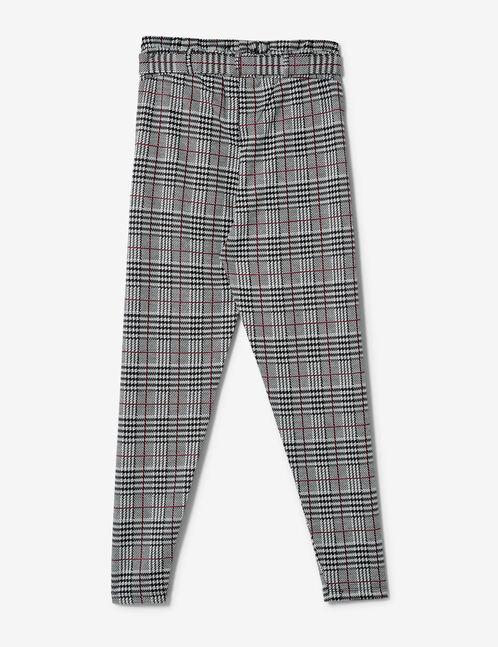 pantalon avec ceinture noir, écru et bordeaux