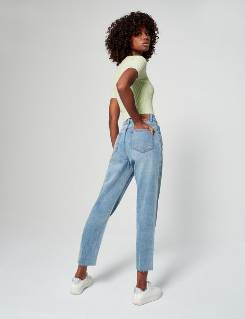 High-waisted slim-fit mum jeans